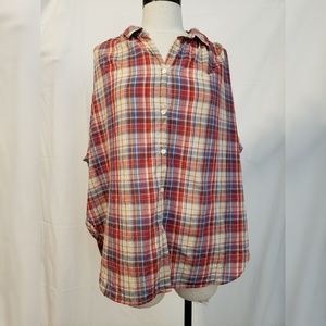 Madewell Plaid Boxy Button Down Top Size Large